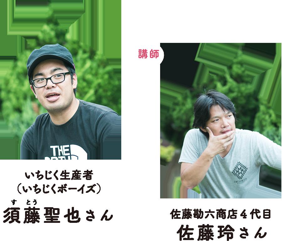 講師 佐藤勘六商店4代目 佐藤玲さん、いちじく生産者(いちじくボーイズ) 須藤聖也さん